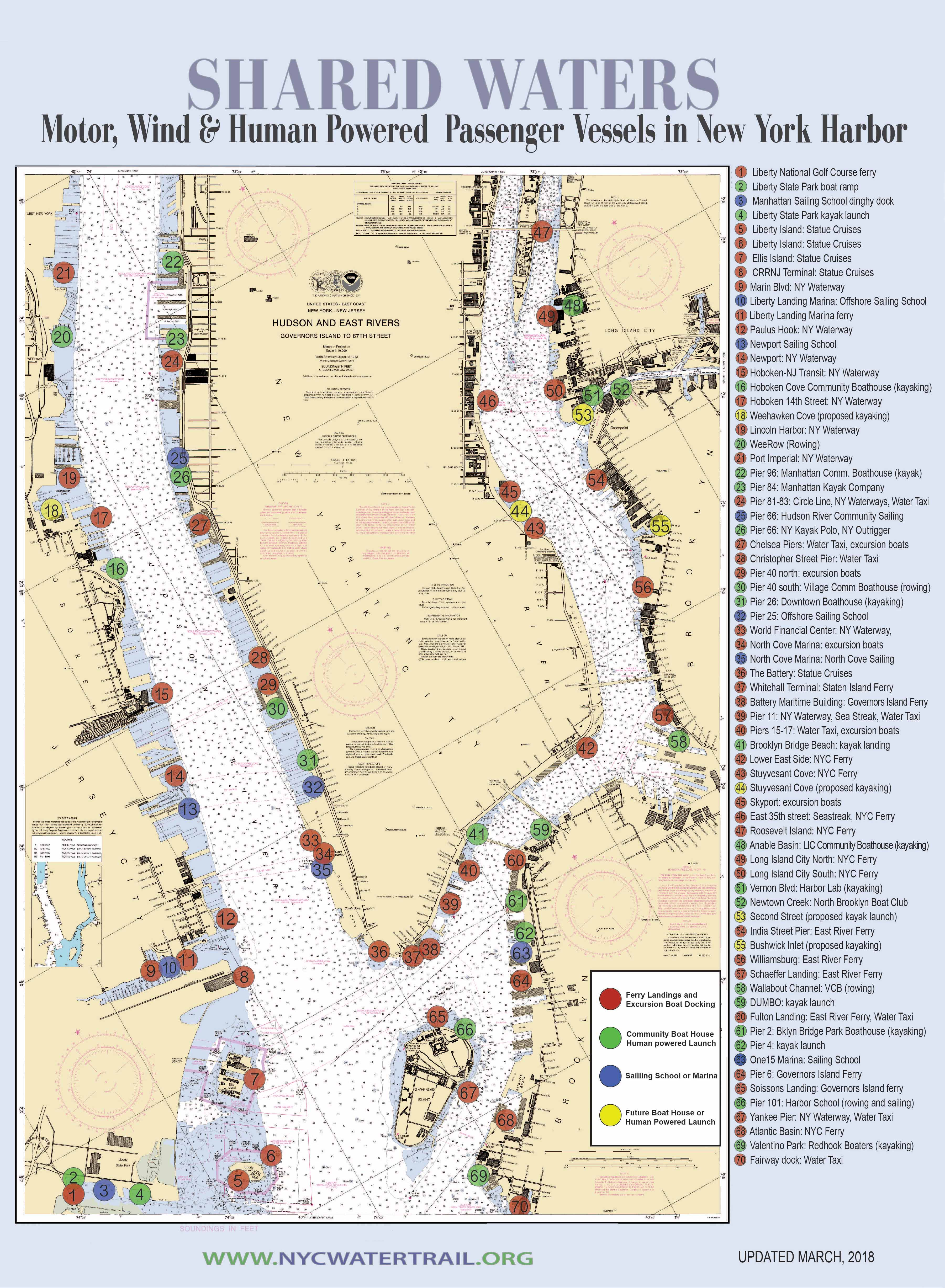 Map Of New York Harbour.New York City Water Trail Association